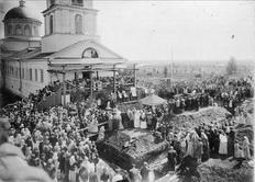 Закладка Богоявленской церкви в Майкоре. 1902 год.
